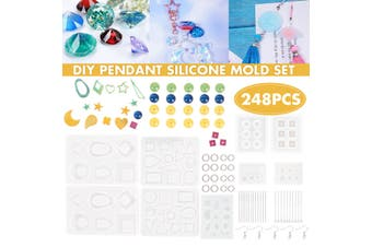 248PCS/Set Silicone Earring Pendant Mold Necklace Jewelry Resin Mould Cast Craft