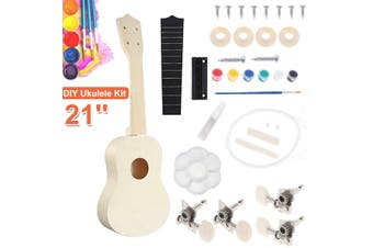 21'' Ukulele DIY Kit Miniature UKE Guitar Instrument Wooden Paint Build with Full Acc diy Painting Tool Child Gifts