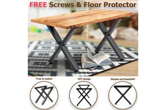 2x Industrial Steel Table Legs Stand Feet Trapezium X A Sandglass Shape Frame Dining/Bench/Office/Desk Legs【35x5x40cm】【Just Table legs!】