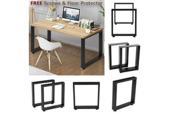 2x Industrial Steel Table Legs Stand Feet Square Shape Frame Dining/Bench/Office/Desk Legs Black【35cmx7cmx40cm】【Just Table legs】(square (35x40cm))