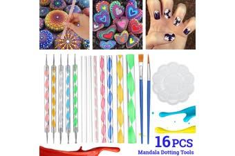 16Pcs Mandala Dotting Tools Set Rock Painting Kit Nail Art Pen Paint Stencil
