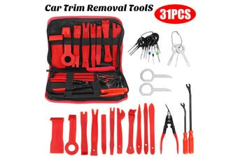 【31pcs】(W/ Carrying Bag) Auto Car Trim Removal Tool Auto Hand Tools DIY Pry Bar Dash Panel Fastener Radio Door Interior Molding Set Disassemble Tool Dash Board Removal Install Tool Kit(31pcs- with bag)