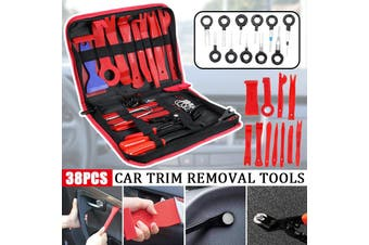 12/19/25/31/38pcs Perfection Pry Disassembly Tool Red Auto Car Audio Dash Tirm Panel Installer Dashboard Removal Opening Repair Tools Kit Interior Door Modeling Clip Set(25pcs- with bag)
