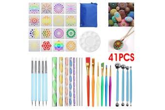 41Pcs Art Mandala Paint Stencil Dotting Painting Tool Kits Brushes Tray Template