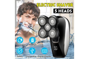 5 IN 1 LCD 4D Rotary Electric Shaver Rechargeable Bald Head Shaver Beard Trimmer USB Charging
