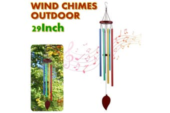 AUGIENB 6 Tubes Wind Chimes Outdoor 29'' Handmade Wooden Chimes with 6 Metal Hollow Tubes & Hanging Hook Outdoor Decor for Home/Yard/Patio/Garden(C)