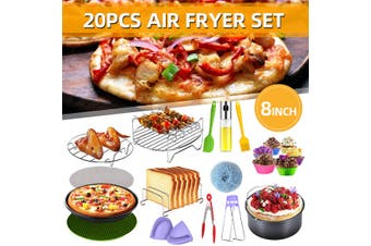 20PCS Air Fryer Accessories Rack Cake Pizza Oven Barbecue Frying Pan Tray(20cm)