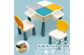 5-in-1 Multi Activity Table Set With Chair Large Building Blocks STEM Toys For Kids Gifts【Table: 51 x 51x 42.5cm;Chair: 21 x 24 x 43.5cm】