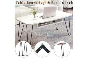 16 Inches Set of 4 Hairpin 2 Prong Table Desk Bench Legs and Protector Feet 16 inch(4 legs) Black