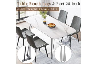 Set of 4 Hairpin Table Desk Bench Legs & Protector Feet 3 prong 28 inch【Just 4 table legs】Black