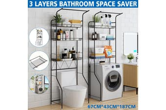 3 Layers Bathroom Shelves Over The Toilet Rack Cabinet Bathroom Kitchen Space Saver Shelf Organizer Holder Washing Machine Rack