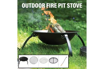 55cm Outdoor Fire Pit Garden Patio Wood Log Burner BBQ Camping Brazier Stove