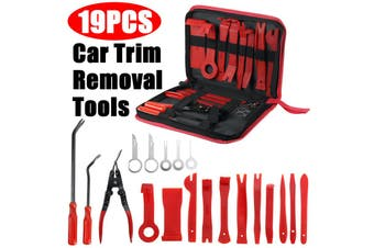 【19pcs】(W/ Storage Bag) Auto Car Trim Removal Tool Auto Hand Tools DIY Pry Bar Dash Panel Fastener Radio Door Interior Molding Set Disassemble Tool Dash Board Removal Install Tool Kit