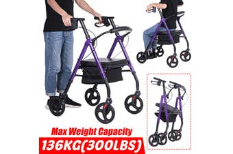 【Adjustable Height】2 in 1 Rollator-Transport Chair w/Paded Seatrest and Built-in Basket Reversible Backrest and Detachable Footrests, Purple - Max Weight Capacity 136kg - with Hand Brake