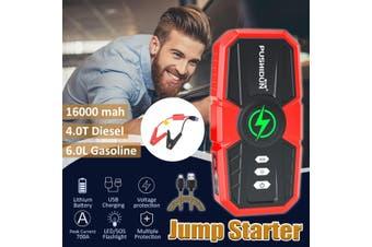 16000Ma 12V Portable Car Jump Starter Power Bank 2 USB For Emergency Start Emergency(Normall clamp)