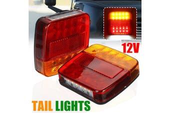 【2pcs】(RED+AMBER) Car LED Square Tail Light Number Plate Light Taillight Marine Lights Stop Light Indicator Reverse Light For Trailer Truck Boat Caravan DC12V(2 Pcs)