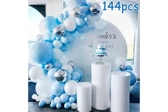 144Pcs/set Balloons+ Balloon Arch Kit for Birthday Wedding Baby Shower Wedding Garland Party Background Decor (Blue, Pink, Silver)
