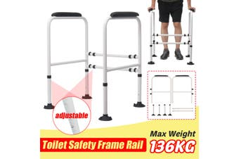 【Support Weight 136kg/300LB 】Stand Alone Toilet Safety Rail - Heavy Duty Toilet Safety Frame for Elderly, Handicap and Disabled - Adjustable Bathroom Toilet Handrails Grab Bar, Fit Any Toilet