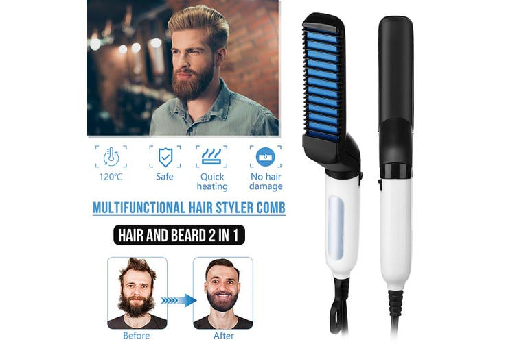 【15S Heating】Multifunctional Hair Comb Quick Hair Styler Straighten Hair Curler Show Cap and Curling Iron for Men
