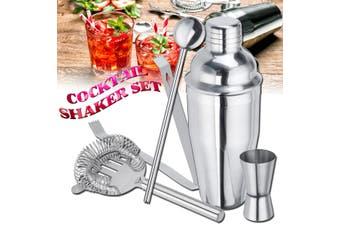 Stainless Steel Cocktail Shaker Set 5 Piece Kit Set For Pub Bar Home Party(5PCS Cocktail Shaker Set)