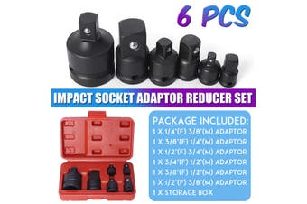 6 PCS Impact Socket Adaptor Reducer Set Adapter 1/4 1/2 3/8 3/4 Ratchet Wrench