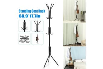 Standing Entryway Coat Rack Coat Tree Hat Hanger Holder 12 Hooks for Jacket Umbrella Tree Stand with Base Metal