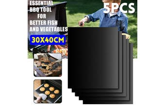 5Pcs BBQ Grill Mat Barbecue Outdoor Baking Non-stick Pad Reusable Cooking Sheet