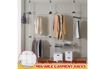 6 Poles Telescopic Movable Garment Racks Coat Hanger Clothes Rails Bedroom Decor Clothes Storage