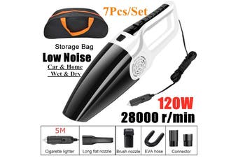 (Low Noise) 7Pcs/Set 4500pa 120W 12V Portable wet & Dry Home Auto Car Handheld Vacuum Cleaner Duster Dirt Suction with Oxford Cloth Storage Bag(60W 7Pcs with Storage Bag)