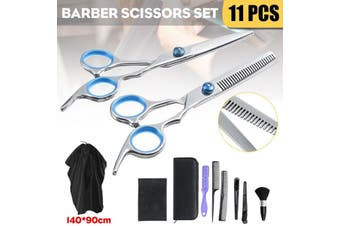 11PCS Hair Cutting Sciss0rs Shears Thinning Set Hairdressing Salon Barber Tool(11 PCS)