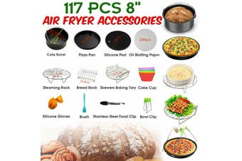 "117 Pcs 8"" Air Fryer Accessories Rack Cake Pizza Barbecue Frying Pan Tray Set"