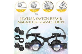 LED Lights Magnifier Glasses 10X 20X 25X 15X Binocular Lens Head Mounted Magnify