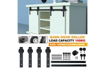 2Pcs 100kg Interior Sliding Door Hardware Steel Barn Closet Track System Kit Set Door Guide Wheel(B 2Pcs (With Track))