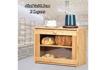 Natural Bamboo Bread Bin Storage Crock Canister Large Bread Bins for Kitchen