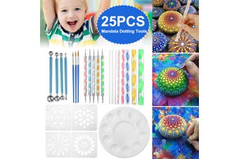 25Pcs/Set Mandala Dotting Tools Rock Painting Kits Dot Art Pen Paint Stencil Drawing Tool(Type A 25pcs Mandala Dotting Tools)