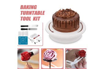 14PCS Cake Decorating Turntable Tools Set Rotating Stand Mould Smoother Spatula(Plastic Turntable)