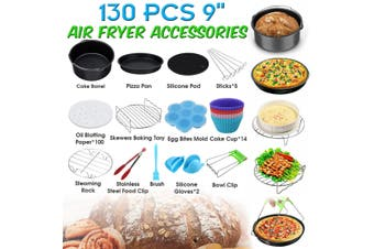 "130 PCS 9'' Air Fryer Accessories Kit Parts Metal Holder Rack Oven Cake Pan(130PCS 9"" Set)"