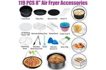 "119 PCS 8'' Air Fryer Accessories Rack Cake Pizza Oven Barbecue Frying Pan Tray(119PCS 8"" Set)"