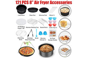 "8"" Air Fryer Frying Cage Dish Baking Pan Rack Pizza Tray Accessories"