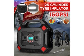 12V 150PSI 35L/min LCD Display Tyre Inflator 25 Cylinder Car Tyre Pump Air Compressor with LED Light and LCD Display for Car Bicycle Tires Balls Swimming Rings Toys(Type A)