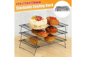 3-Tier Stackable Cooling Rack Non-stick Wire Grid Kitchen Baking Tools