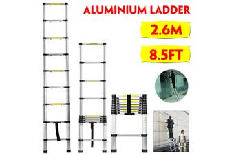 2.6M/8.5FT With Plastic Card Lock Telescopic Ladder Aluminum Alloy Ladder Non-slip Lightweight Variety of Domestic Commercial Uses