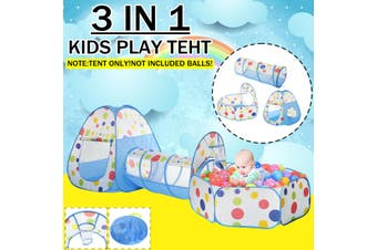 3 in 1 Play Tent Kids Toddlers Tunnel Ball Pits Pool Set Up Baby Playhouse(Type B)