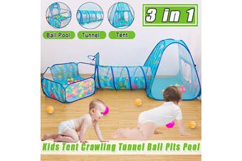 3 in1 Kids Tent Crawling Toddlers Play House Kid Play Yard Tunnel Ball Pits Pool( No Include Ball)(Type1( 3 in 1 ))