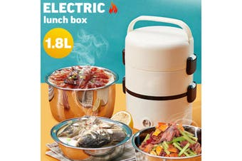 3 Layers Portable Electric Lunch Box Food Heated Warmer Steamer Rice Cooker 1.8L