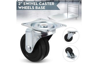"2""50mm Swivel Caster Wheels Rubber Base With Top Plate & Bearing Heavy Duty For Shopping Cart Trolley(1PC Type 2)"