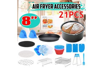 21Pcs 8inch Air Fryer Accessories With Cake Barrel Metal Holder Pizza Pan(21pcs)
