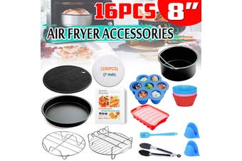 16PCS 8inch Air Fryer Accessories With Cake Barrel Metal Holder Pizza Pan(16pcs)