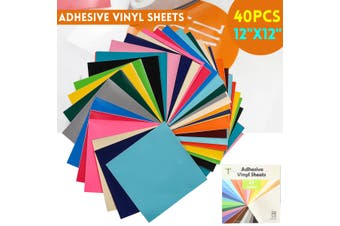 40Pcs Permanent Adhesive Vinyl Sheets Works with Craft Cutters Cricut Silhouette