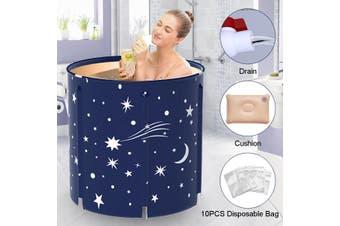 New Household Bath Barrel Folding Bath Barrel Peach Skin Sweat Steaming Barrel Adult Foldable Bath Barrel(darkblue,70x65CM)